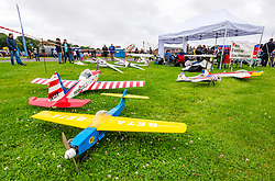 Pictured: Scotland's National Airshow, East Fortune, East Lothian, Scotland, United Kingdom, 27 July 2019 . A packed programme of aircraft old and new planned to take to the skies for the aerial display was marred by poor weather at airfields around the country which meant that many of the promised flights were unable to perform. Model aeroplaces on display.<br /> Sally Anderson | EdinburghElitemedia.co.uk