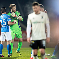 St Johnstone v Inverness Caley Thistle…03.12.16   McDiarmid Park..     SPFL<br />Zander Clark and Chris Kane celebrate at full time<br />Picture by Graeme Hart.<br />Copyright Perthshire Picture Agency<br />Tel: 01738 623350  Mobile: 07990 594431