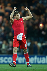 PRESTON, ENGLAND - Saturday, January 3, 2009: Liverpool's captain Steven Gerrard MBE celebrates his side's 2-0 victory against Preston North End during the FA Cup 3rd Round match at Deepdale. (Photo by David Rawcliffe/Propaganda)