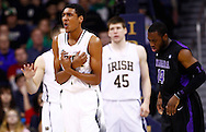 SOUTH BEND, IN - DECEMBER 21: Cameron Biedscheid #1 of the Notre Dame Fighting Irish reacts after a play against the Niagara Purple Eagles at Purcel Pavilion on December 21, 2012 in South Bend, Indiana. (Photo by Michael Hickey/Getty Images) *** Local Caption *** Cameron Biedscheid