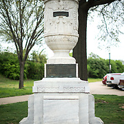 The Cuban Friendship Urn in East Potomac Park in Washington DC. It commemorates the sinking of the USS Maine in 1898 and was presented by the Cuban government to President Calvin Coolidge in 1928. This shot shows the urn sitting on top of the pedestal base.