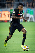 LAFC midfielder Mark-Anthony Kaye (14) moves the ball during an MLS soccer match against the Minnesota United. Minnesota United defeated theLAFC 2-0 on Sunday Sept. 1 2019, in Los Angeles. (Ed Ruvalcaba/Image of Sport)