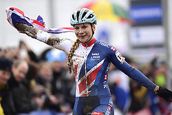 February 3, 2018 - Valkenburg, Pays bas - Richards Evie celebrates the win of the 2018 UCI Cyclo-Cross World Championships for Women under 23 on February 03, 2018 (Credit Image: © Panoramic via ZUMA Press)