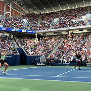 2019 US Open Tennis Tournament- Day Seven.  Coco Gauff and Catherine McNally of the United States playing against Nicole Melichar of the United States and Kveta Peschke of the Czech Republic in the Women's doubles round two match in a full to capacity Louis Armstrong Stadium during the 2019 US Open Tennis Tournament at the USTA Billie Jean King National Tennis Center on September 1st, 2019 in Flushing, Queens, New York City.  (Photo by Tim Clayton/Corbis via Getty Images)