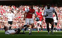 Photo: Steve Bond.<br />Arsenal v Derby County. The FA Barclays Premiership. 22/09/2007. Eduardo (c) attacks Claude Davis (R)