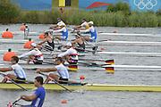 Eton Dorney, Windsor, Great Britain,..2012 London Olympic Regatta, Dorney Lake. Eton Rowing Centre, Berkshire[ Rowing]...Description;  Heat, Men's double Sculls: NZL M2X..Nathan COHEN (b) , Joseph SULLIVAN (s).ITA M2X   Alessio SARTORI (b) , Romano BATTISTI (s).GER.M2X Eric KNITTEL (b) , Stephan KRUEGER (s).AUS.David CRAWSHAY (b) , Scott BRENNAN (s).Dorney Lake. 12:20:04  Tuesday  31/07/2012.  [Mandatory Credit: Peter Spurrier/Intersport Images].Dorney Lake, Eton, Great Britain...Venue, Rowing, 2012 London Olympic Regatta...