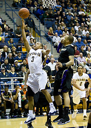 February 11, 2010; Berkeley, CA, USA;  California Golden Bears guard Jerome Randle (3) shoots past Washington Huskies guard Venoy Overton (1) during the first half at the Haas Pavilion.  California defeated Washington 93-81.