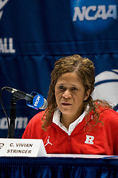 March 19, 2010; Stanford, CA, USA;  Rutgers Scarlet Knights head coach C. Vivian Stringer talks with the media before the first round game of the 2010 NCAA Womens Division I Championship at Maples Pavilion.