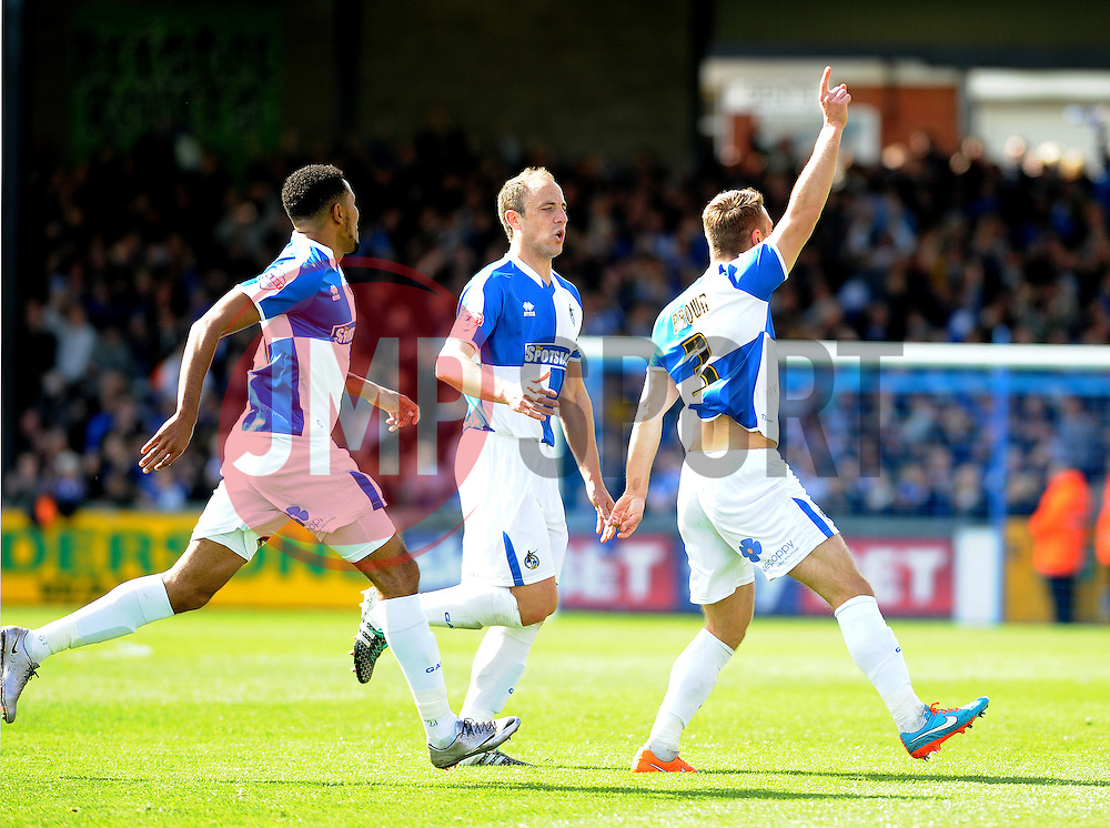 Lee Brown of Bristol Rovers celebrates his goal with Cristian Montano and Mark McChrystal - Mandatory by-line: Neil Brookman/JMP - 23/04/2016 - FOOTBALL - Memorial Stadium - Bristol, England - Bristol Rovers v Exeter City - Sky Bet League Two