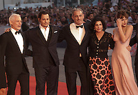 Producer Patrick McCormick, actor Johnny Depp, producer John Lesher, Sue Kroll and  actress Dakota Johnson, at the gala screening for the film Black Mass at the 72nd Venice Film Festival, Friday September 4th 2015, Venice Lido, Italy.