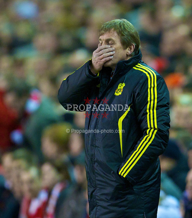 LIVERPOOL, ENGLAND, Thursday, February 24, 2011: Liverpool's manager Kenny Dalglish MBE during the UEFA Europa League Round of 32 2nd leg match against AC Sparta Prague at Anfield. (Photo by David Rawcliffe/Propaganda)