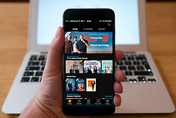 Detail of Amazon video streaming service on an iPhone smart phone