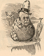 Ferdinand de Lesseps (1805-1894) French diplomat and canal promoter. The Suez Canal project, begun in 1860 was successfully completed in 1869. His project for a Panama Canal, begun in 1881, was abandoned in 1888.   Cartoon by Edward Linley Sambourne in the Punch's Fancy Portraits series from 'Punch' (London, 11 August 1883).