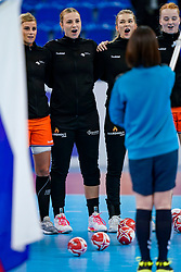 13-12-2019 JAP: Semi Final Netherlands - Russia, Kumamoto<br /> The Netherlands beat Russia in the semifinals 33-22 and qualify for the final on Sunday in Park Dome at 24th IHF Women's Handball World Championship / Angela Malestein #26 of Netherlands, Rinka Duijndam #30 of Netherlands, Tess Wester #33 of Netherlands, Dione Housheer #27 of Netherlands