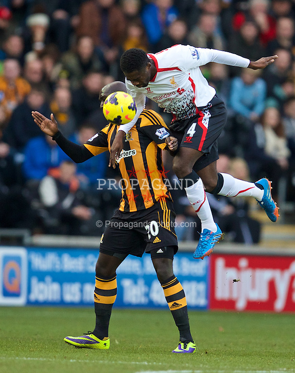 HULL, ENGLAND - Sunday, December 1, 2013: Liverpool's Kolo Toure in action against Hull City during the Premiership match at the KC Stadium. (Pic by David Rawcliffe/Propaganda)