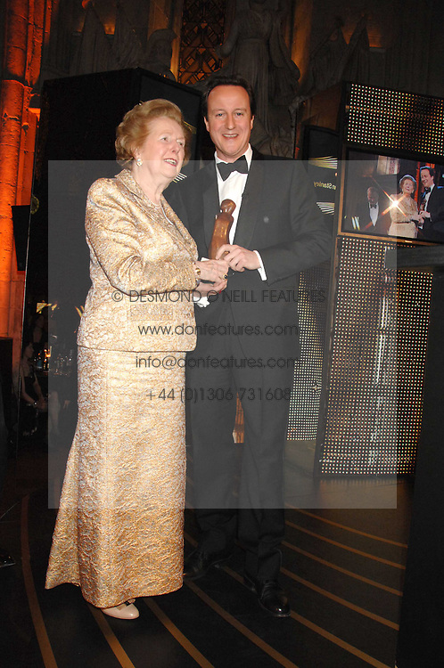 BARONESS THATCHER and DAVID CAMERON at the Morgan Stanley Great Britons Awards at The Guildhall, City of London on 31st January 2008.  Conservative party leader David Cameron presenter a lifetime achievement award to former Prime Minister Baroness Thatcher.<br /> <br /> NON EXCLUSIVE - WORLD RIGHTS (EMBARGOED FOR PUBLICATION IN UK MAGAZINES UNTIL 2 WEEKS AFTER CREATE DATE AND TIME) www.donfeatures.com  +44 (0) 7092 235465