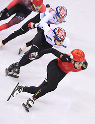 PYEONGCHANG, Feb. 22, 2018  Wu Dajing (bottom) of China competes during men's 500m final of short track speed skating at the 2018 PyeongChang Winter Olympic Games at Gangneung Ice Arena, Gangneung, South Korea, Feb. 22, 2018. Wu Dajing claimed gold medal in a time of 0:39.584 and set new world record. (Credit Image: © Ju Huanzong/Xinhua via ZUMA Wire)