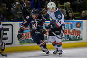 KELOWNA, CANADA - DECEMBER 27:  Kyle Topping #24 of the Kelowna Rockets & Nolan Kneen #27 of the Kamloops Blazers at the Kelowna Rockets game on December 27, 2016 at Prospera Place in Kelowna, British Columbia, Canada.  (Photo By Cindy Rogers/Nyasa Photography,  *** Local Caption ***