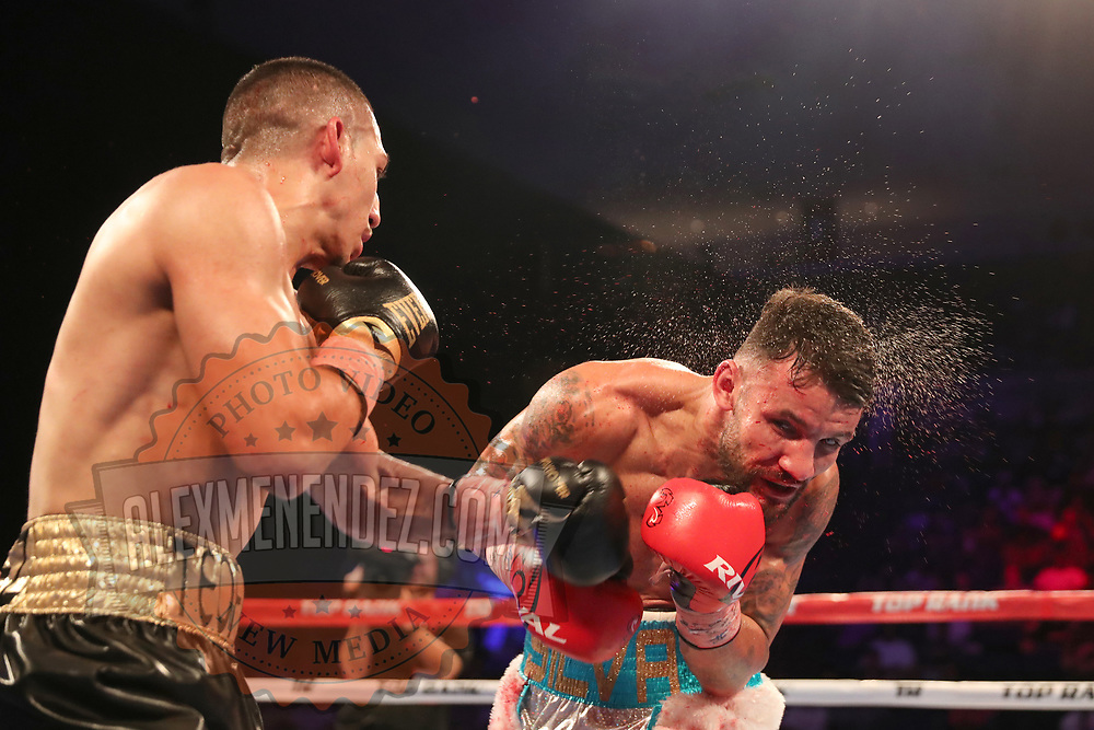 NEW ORLEANS, LA - JULY 14:  Teofimo Lopez lands a left to the head of William Silva during their WBC Continental Americas Title boxing match at the UNO Lakefront Arena on July 14, 2018 in New Orleans, Louisiana.  (Photo by Alex Menendez/Getty Images) *** Local Caption *** Teofimo Lopez; William Silva
