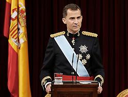 19.06.2014, Congreso de los Diputados, Madrid, ESP, Inthronisierung, König Felipe VI, im spanischen Abgeordnetenhaus, im Bild King Felipe VI of Spain of Spain // during the Enthronement ceremonies of King Felipe VI at the Congreso de los Diputados in Madrid, Spain on 2014/06/19. EXPA Pictures © 2014, PhotoCredit: EXPA/ Alterphotos/ EFE/Pool<br /> <br /> *****ATTENTION - OUT of ESP, SUI*****