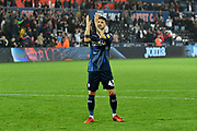 Mateusz Klich (43) of Leeds United applauds the Leeds fans after a 2-2 draw during the EFL Sky Bet Championship match between Swansea City and Leeds United at the Liberty Stadium, Swansea, Wales on 21 August 2018.