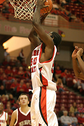 19 November 2005: Greg Dilligard gets close in a quick break to the bucket. In a non-conference race that came down to a photo finish, the Illinois State Redbirds slipped past the Indianapolis University Greyhounds 54-50 at Redbird Arena in Normal Illinois
