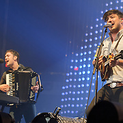 FAIRFAX, VA - February 13th,  2013 - Fresh off their Grammy win for 2013 Album of the Year, Ben Lovett and Marcus Mumford of British folk outfit Mumford & Sons begin a two night stand at the Patriot Center in Fairfax, VA. Babel, the band's sophomore album, debuted at number one in both the UK and US album charts. (Photo by Kyle Gustafson/For The Washington Post)