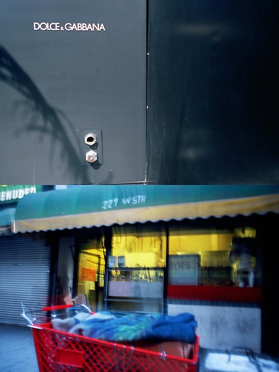 Detalle de la puerta de la tienda de Dolce e Gabbana en Beverly Hills..Un carro de la compra de un vagabunda aparacdao frente a una tienda de comestibles en una calle del centro de Los Angeles.