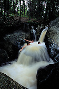 Teenagers enjoy waterfall fun in Quebec, Canada