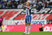Wigan Athletic defender Jake Buxton (3) pointing, directing, signalling during the EFL Sky Bet Championship match between Wigan Athletic and Brighton and Hove Albion at the DW Stadium, Wigan, England on 22 October 2016.