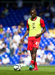 LONDON, ENGLAND - Sunday, August 31, 2014: Liverpool's new signing Mario Balotelli warms-up before the Premier League match against Tottenham Hotspur at White Hart Lane. (Pic by David Rawcliffe/Propaganda)