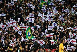 14 November 2017 -  International Friendly - England v Brazil - Motion blur of fans waving George cross and Brazilian National flags - Photo: Marc Atkins/Offside