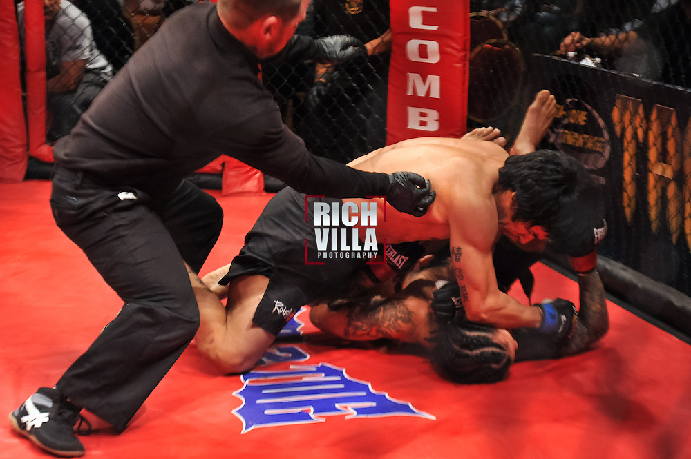 Atlantic City, New Jersey, January 24, 2014: Leodegario Muniz(top) Vs Jose Villanueva(bottom) at Ring of Combat 47 at The Tropicana Casino.