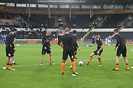 The Hull players warm up before the Sky Bet Championship match at the KCOM Stadium, Hull<br /> Picture by Paul Chesterton/Focus Images Ltd +44 7904 640267<br /> 25/08/2017