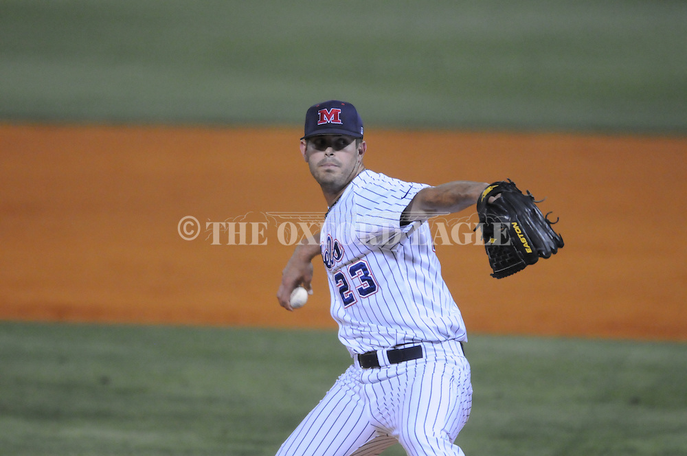 Mississippi's Eric Callender pitches vs. Southern Mississippi at Oxford-University Stadium in Oxford, Miss. on Tuesday, April 20, 2010. Ole Miss won 7-2.