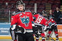 KELOWNA, CANADA - NOVEMBER 5: Lucas Johansen #7 of Kelowna Rockets stands on the ice during warm up against the Victoria Royals on November 5, 2014 at Prospera Place in Kelowna, British Columbia, Canada.  (Photo by Marissa Baecker/Shoot the Breeze)  *** Local Caption *** Lucas Johansen;