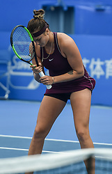 SHENZHEN, Jan. 5, 2019  Aryna Sabalenka of Belarus reacts during the final match against Alison Riske of the United States at the WTA Shen Zhen Open tennis tournament in Shenzhen, south China's Guangdong Province, Jan. 5, 2019. Aryana Sabalenka won 2-1 and claimed the title. (Credit Image: © Xinhua via ZUMA Wire)