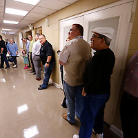 Thomas Wells | Buy at PHOTOS.DJOURNAL.COM<br /> Tupelo Residents line the hallway at Parway Baptist Church early Tuesday morning as they wait to vote in this year's Presidential election.