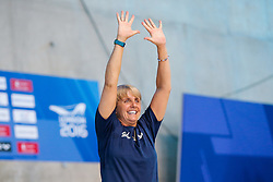 Jane Figueiredo, coach to Tom Daley of Great Britain, celebrates after he wins Gold during the Mens 10m Platform Final, with a very good score of 570.50 - Mandatory byline: Rogan Thomson/JMP - 15/05/2016 - DIVING - London Aquatics Centre - Stratford, London, England - LEN European Aquatics Championships 2016 Day 7.