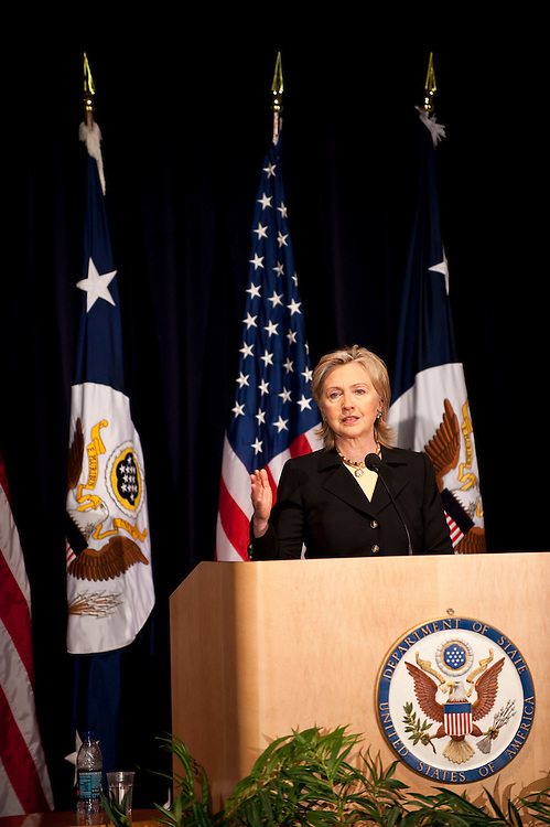 Mar 15,2010 - Washington, District of Columbia USA - .Secretary of State Hillary Rodham Clinton speaks to Haitii earthquake task force volunteers at the Department of State on Momday to express the U.S. Governments's appreciation for their help. U.S. Ambassador Kenneth Merten and the staff of the U.S Embassy in Port au Prince participated by teleconference....(Credit Image: © Pete Marovich/ZUMA Press)