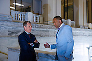 T.W. Shannon is the first black Republican Speaker of the House for Oklahoma.  He represents Lawton.  Went to school at Cameron University. He is meeting with Oklahoma State Secretary of Treasury Ken Miller.
