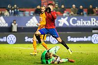 "Eibar's Yoel Rodriguez, Club Atletico Osasuna's Sergio LEon  during the match of ""Copa del Rey"" between CA Osasuna and Eibar at El Sadar Stadium in Pamplona. January 03 2017. (ALTERPHOTOS/Rodrigo Jimenez)"
