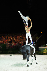 Joanne Eccles, Hannah Eccles, (GBR), W H Bentley, John Eccles - Pas de Deux Vaulting - Alltech FEI World Equestrian Games™ 2014 - Normandy, France.<br /> © Hippo Foto Team - Jon Stroud<br /> 04/09/2014