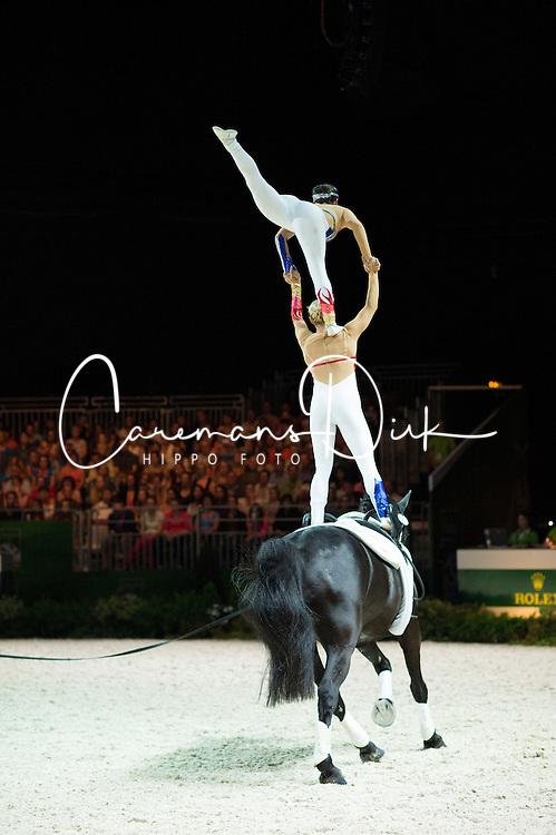 Joanne Eccles, Hannah Eccles, (GBR), W H Bentley, John Eccles - Pas de Deux Vaulting - Alltech FEI World Equestrian Games™ 2014 - Normandy, France.<br /> © Hippo Foto Team - Jon Stroud<br /> 04/09/2014