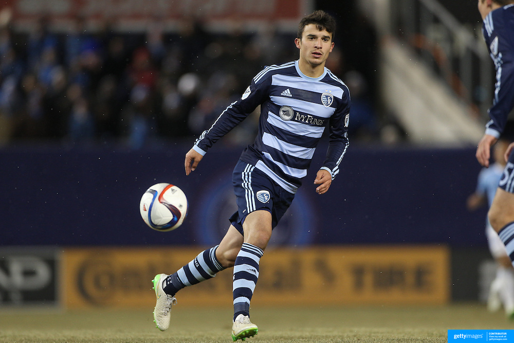 Servando Carrasco, Sporting KC, in action during the New York City FC Vs Sporting Kansas City, MSL regular season football match at Yankee Stadium, The Bronx, New York,  USA. 27th March 2015. Photo Tim Clayton