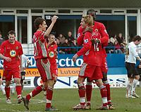 Photo: Kevin Poolman.<br />Luton Town v Blackburn Rovers. The FA Cup. 27/01/2007. Morten Gamst Pedersen (no 12) of Blackburn celebrates his goal with Christopher Samba and Matt Derbyshire.
