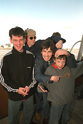 LIVERPOOL, ENGLAND - Liverpool band Space photographed on a Mersey Ferry in Liverpool. Andy Parle, Jamie Murphy, Tommy Scott. (Pic by David Rawcliffe/Propaganda)