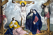 Crucifixion: Jesus on the cross between the two robbers. Virgin Mary, right, with James, and second female figure at foot of cross. Print c1846 after James S Baillie (active 1538-1855). Religion Christian
