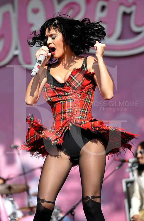 Katy Perry performs on stage on the second day of T In The Park at Balado on July 11, 2009 in Kinross, Scotland. (Photo by Ross Gilmore