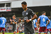 Ayoze Perez of Leicester City (17) scores a goal and celebrates to make the score 0-1 during the Pre-Season Friendly match between Scunthorpe United and Leicester City at Glanford Park, Scunthorpe, England on 16 July 2019.
